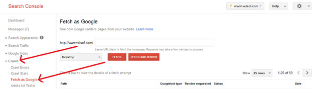 Google Webmaster Fetch