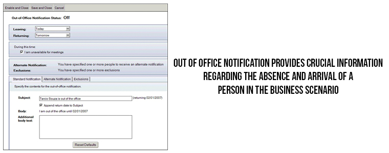 Out of Office notification | Veslof