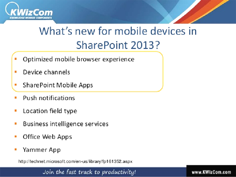 What's New for mobile devices in Sharepoint 2013 | Velsof