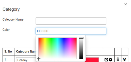 Helps in creating a new Category of events by ensuring a color code to it