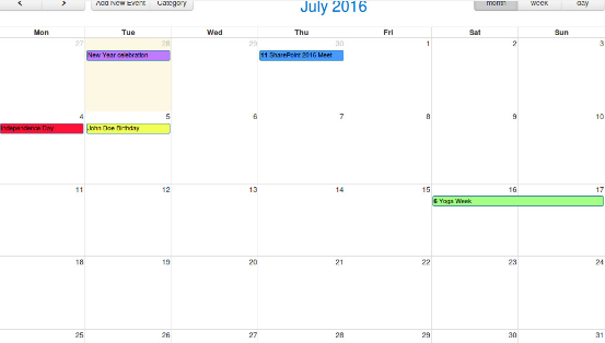 Ensures viewing of various events on a Central Calendar UI