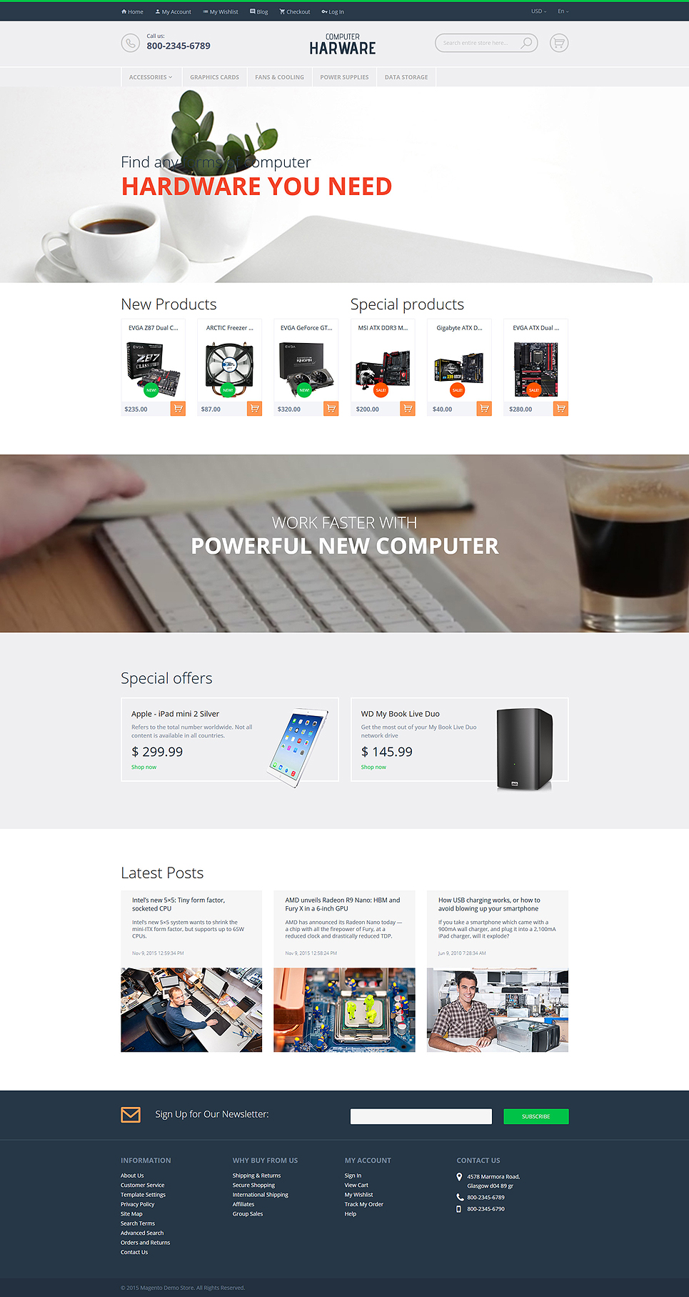 Latest free Magento templates that are popular in eCommerce world- Computer Hardware Magento Theme| Velsof