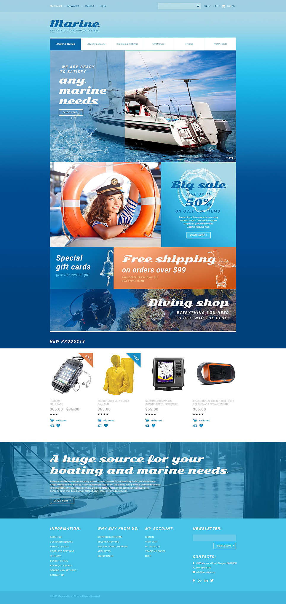 Latest free Magento templates that are popular in eCommerce world- Marine Store Magento Theme | Velsof