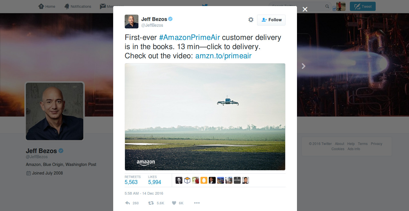 Amazon ready to ship your ordered product with its drone delivery- Official Twitter handle of Jeff Bezos | Velsof