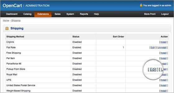 Setting up shipping methods- Click on edit to open the setting page   Velsof