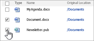 SharePoint has a similar recycle bin as your PC- And it's more awesome- Click on the checkbox | Velsof