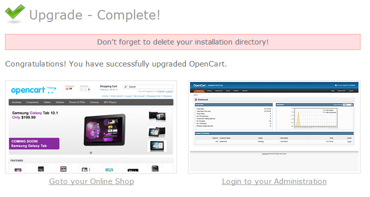 Steps to upgrade your OpenCart based website- upgrade complete | Velsof