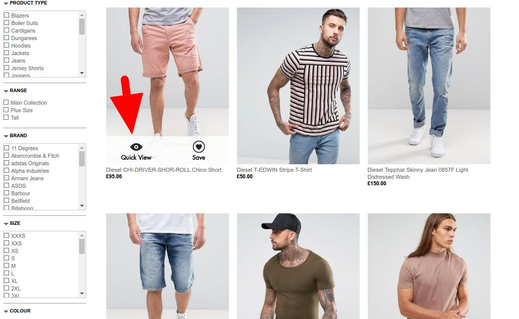 Asos product page with quick view CTA