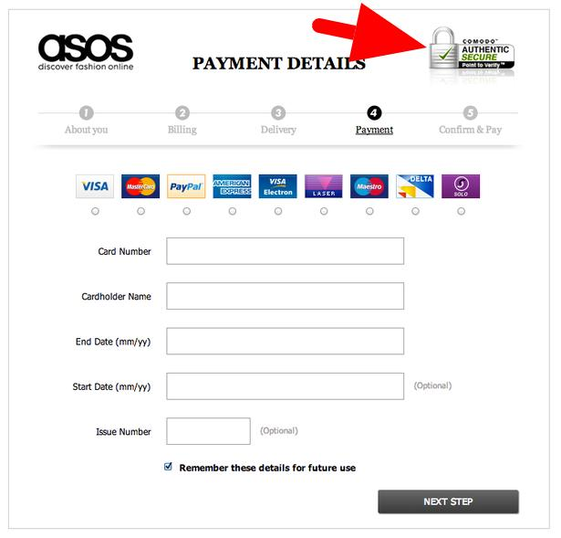 asos payment detail page
