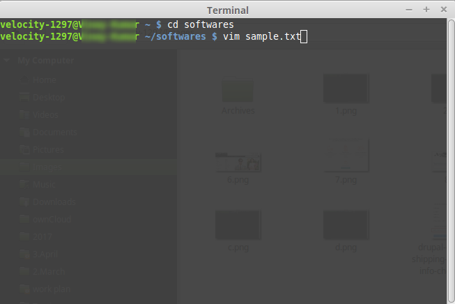 create a new file using Vim