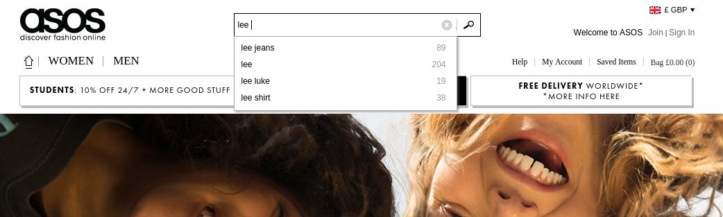 Asos Website Search Result