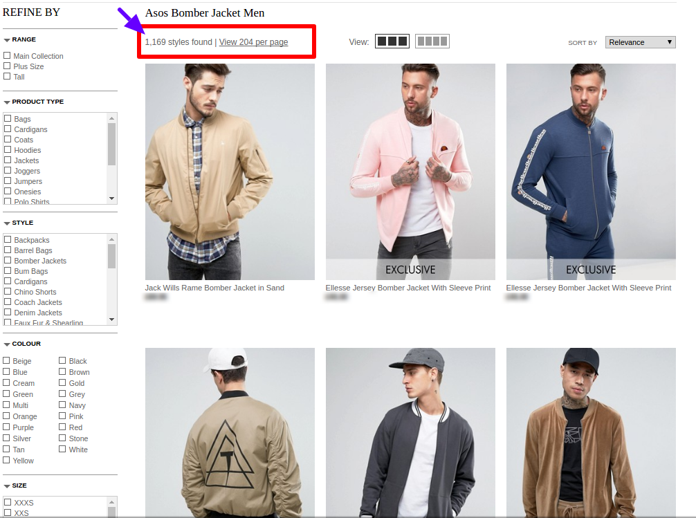 Asos Website Search Result