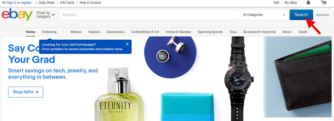 ebay's website search box