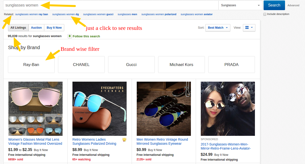 Ebay's Website Search Results