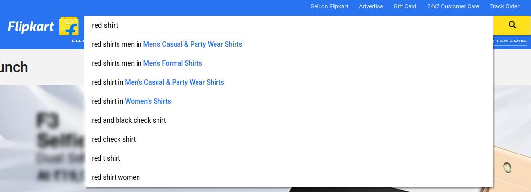 Flipkart's search box