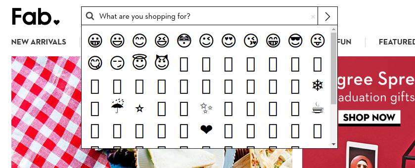 Fab's emoji search results
