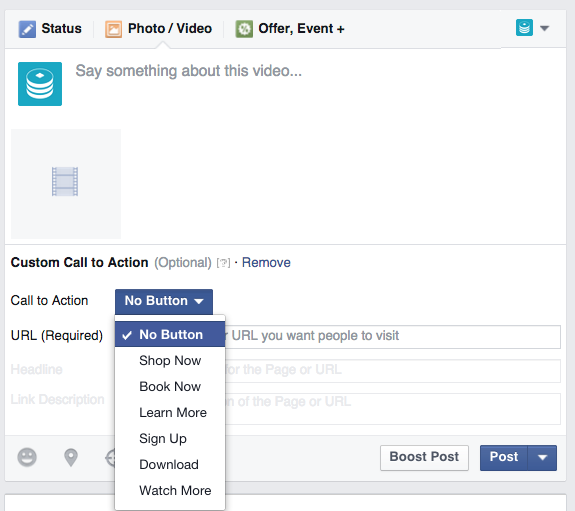 Call to action button| Facebook Marketing 2019